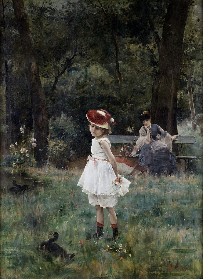 Alfred Stevens - Little girl with ducks