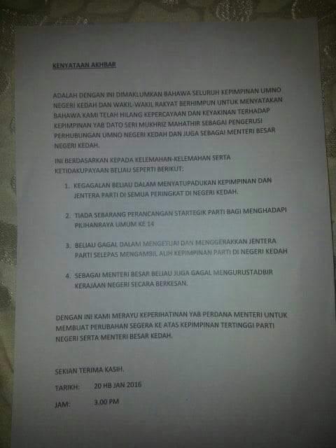 UMNO Kedah Hilang Kepercayaan Kepada Mukhriz