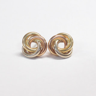 18K Yellow, Rose, and White Gold Earrings