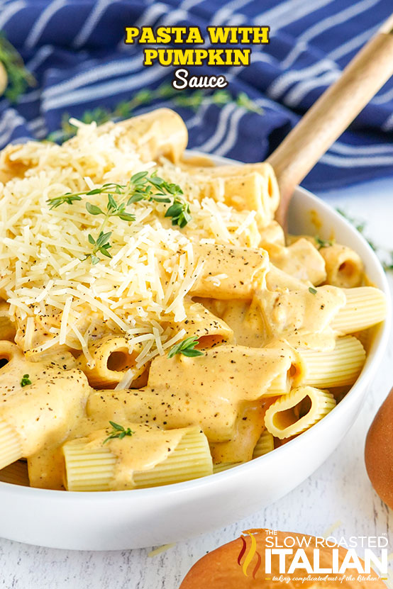Pasta With Pumpkin Sauce in a bowl