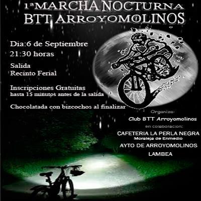 I Marcha Nocturna de bicicleta de montaña en Arroyomolinos, el 6 de Septiembre a las 21:30 horas