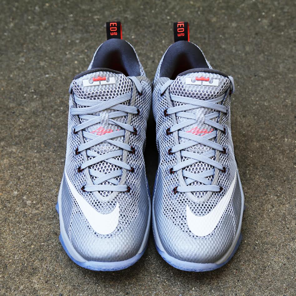 16a91f9bd55 Release Reminder  Nike LeBron 12 Low Wolf Grey   Hot Lava
