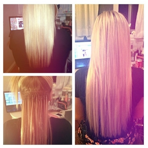 Beauty wiz nano bead remy hair extensions review top left is my hair before pmusecretfo Images