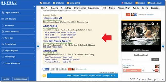 Iklan AdSense Penelusuran Khusus Google yang Tampil pada Artikel Blog