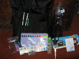 pencils, markers, stickers, glue, scissors, water bottle, pencil case, eraser, candy