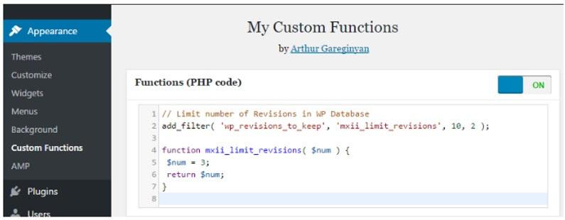 WordPress Limit Revisions Dalam My Custom Functions