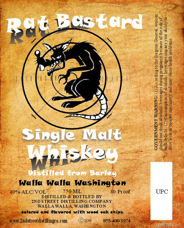 2nd Street Distilling Rat Bastard Single Malt Whiskey