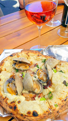 Clam Pie with Local Crème Fraîche, Manila Clams, Domestic Guanciale, Red Onion with Cameron Winery 2014 Saignee of Pinot Noir