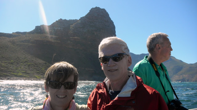 Tis and Marion cruising Hout Bay, Sentinel Peak behind us