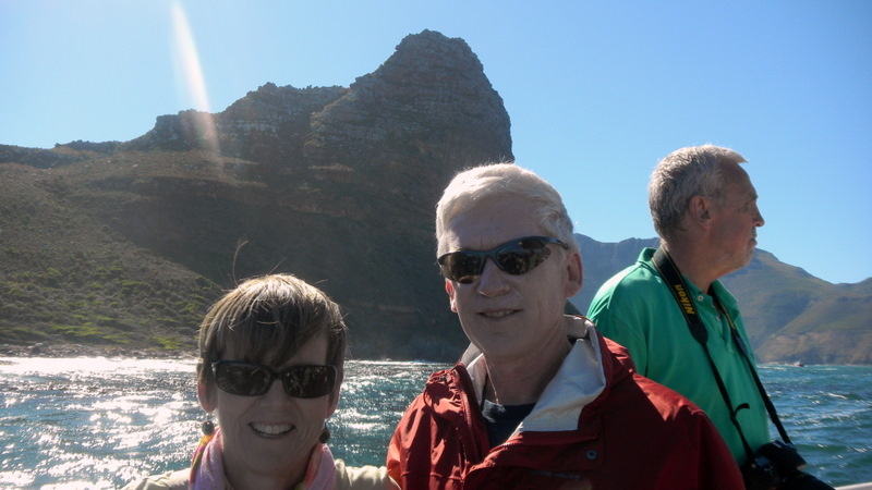 Tis and Marion cruising Hout Bay, Sentinel Peak behind us