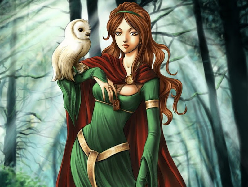 Girl In Green With Owl, Spirit Companion 1