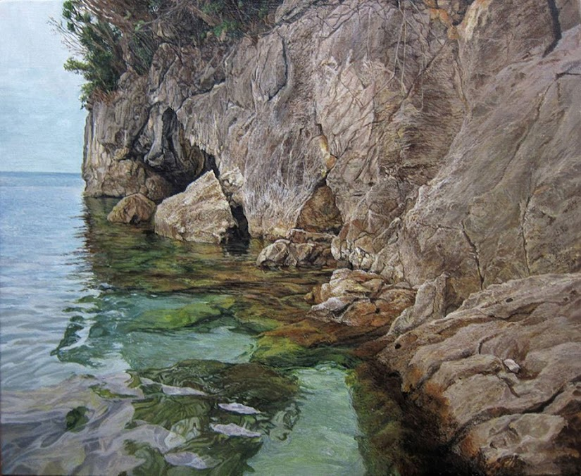 Pintura en óleo El acantilado de Francisco Darens
