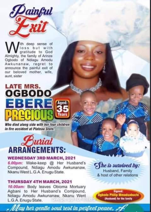 Woman And Her Four Children Die In Jos House Fire (Photos)