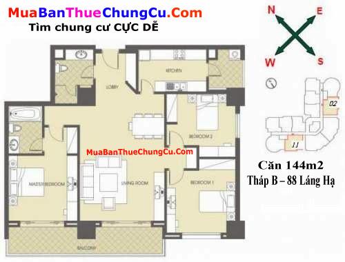 Thiết kế căn hộ 144m2 Chung cư 88 Láng Hạ tháp B