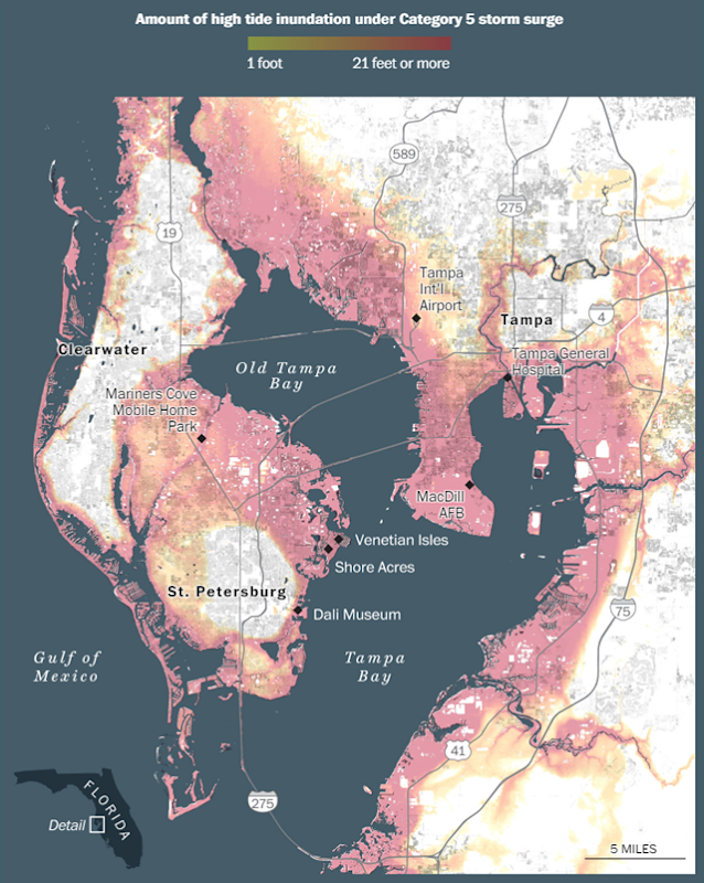Amount of high tide inundation under a Category 5 storm surge in Tampa Bay, Florida. Graphic: The Washington Post