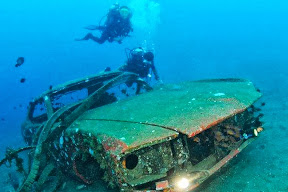 The Mustang is on the ground, 30 m below the water surface.