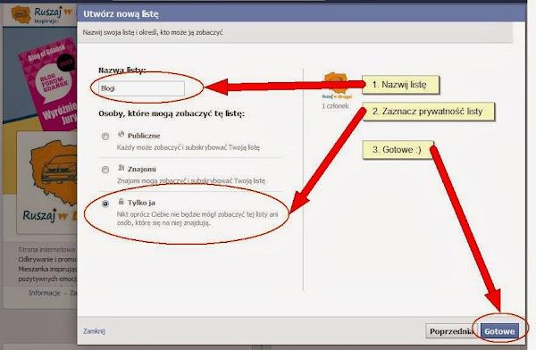 Ruszaj w Drogę na Facebooku - Nazwij listę zainteresowań i ustaw jej prywatność