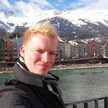 self shot in front of the colored houses in Innsbruck, Tirol, Austria