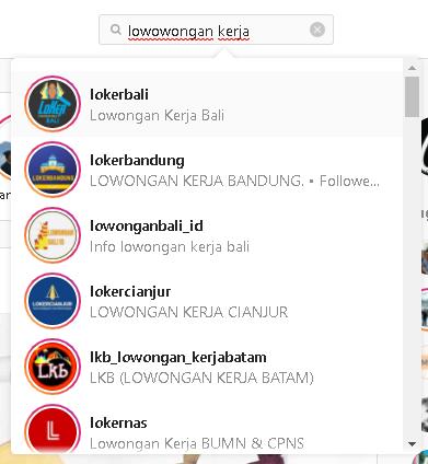 Akun Instagram Lowongan Kerja