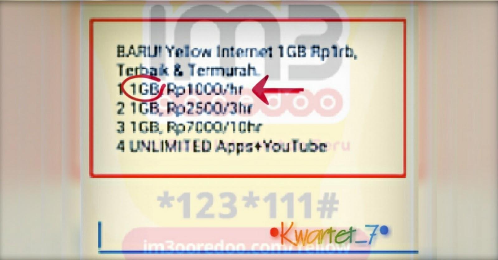 Paket Internet 30gb 30ribu 30hari Indosat Ooredoo Kwartet 7 Im3 Rp0 Langsung Saja Ketik 1 Untuk Membeli Harian Yellow 1gb 1000 Ini Tunggu Notifikasi Pembelian Berhasil Selanjutnya Ulangi Terus