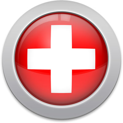 Swiss flag icon with a silver frame