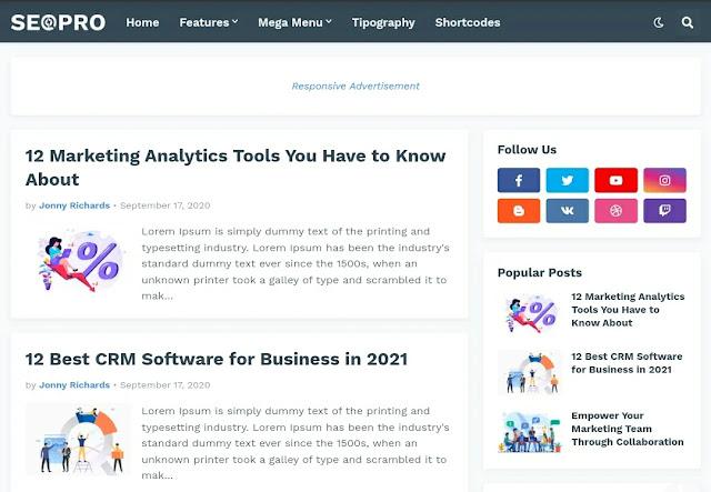 Seo pro Premium Responsive blogger template [Download Now