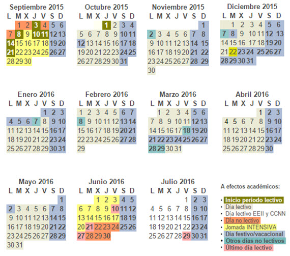 Calendario escolar curso 2015-2016 de la Comunidad de Madrid