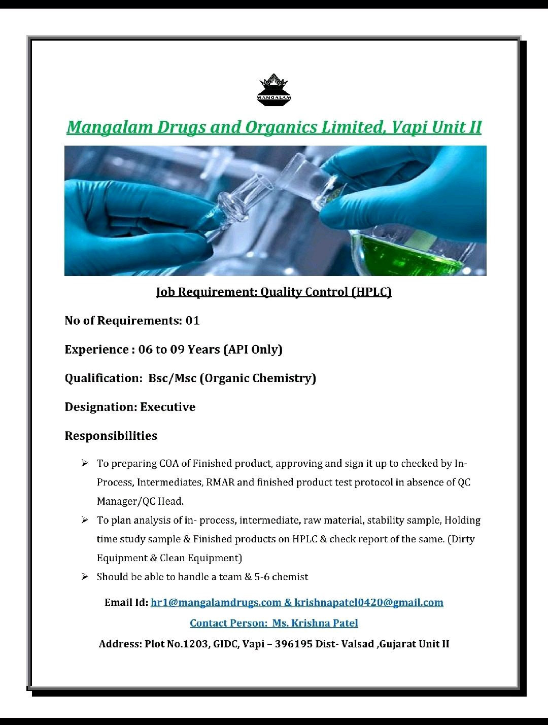 Opening For Quality Control Professional At Mangalam Drugs