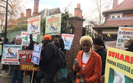 Nigerians in the United Kingdom Gather in Protest for the Arrival of the President