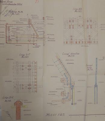 Чертежи баржи с открывающимся дном. В центре и справа внизу: механизм закрывания люков.(Из материалов Эстонского государственного архива)