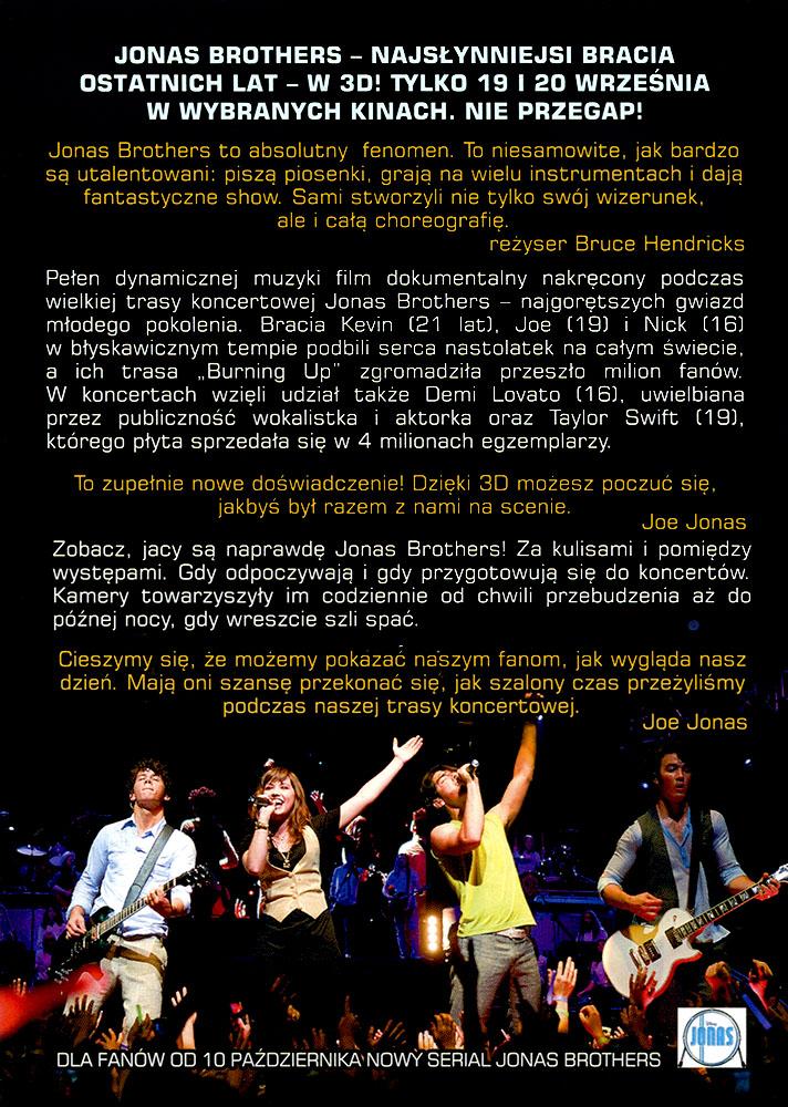Ulotka filmu 'Jonas Brothers - Koncert (tył)'