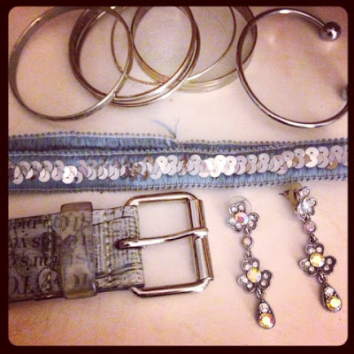all silver accessories including vintage sterling bangles, cheap costumes jewelry and thrift store retro style belt