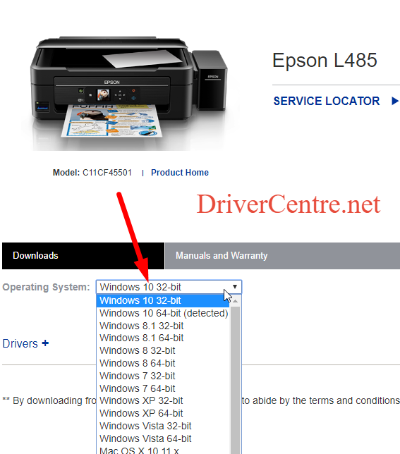choose os compatible with Epson L565 printer