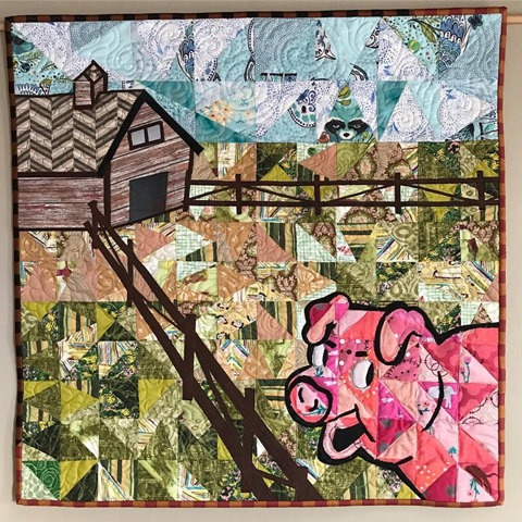 Lurking Pig Quilt by Kim Lapacek