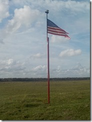 Flag atop Heiffer Indian Mound