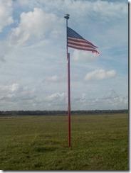 Flag atop Heiffer Indian Mound