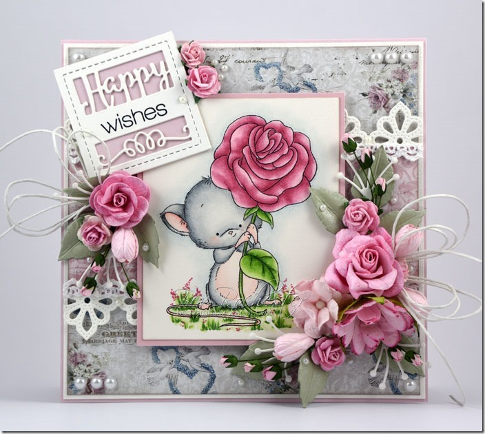 bev rochester whimsy mouse with rose