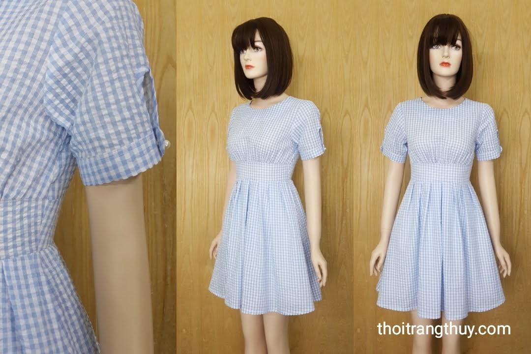 Váy xòe xếp ly đai eo kẻ caro xanh da trời V593 Thời Trang Thủy