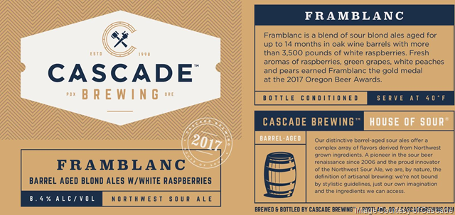 Cascade Brewing Announces Release of Framblanc 2017 on Draft and in 500ml Bottles