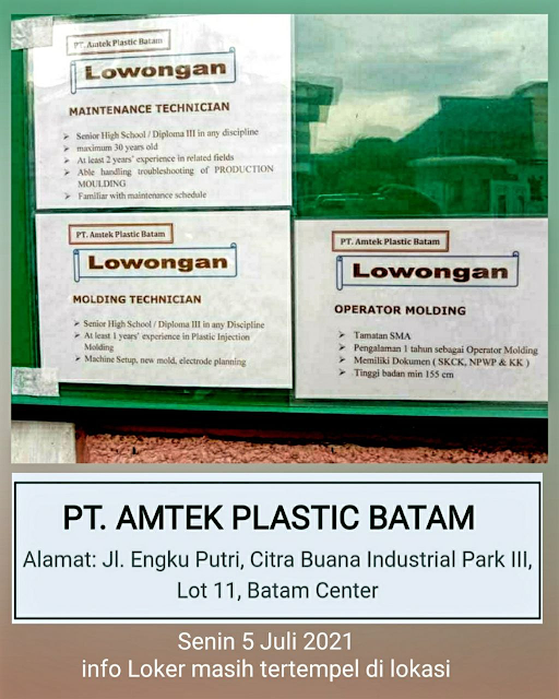 Lowongan PT. Amtek Plastic Batam Buka 3 Posisi   Kaina Studios