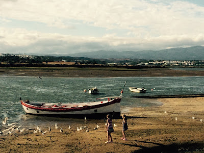 En bred elv med. Noen små båter ligger på sandbankene.