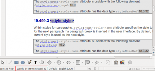LibreOffice 3.6 Beta 1 - conteggio delle parole sia parziale e totale