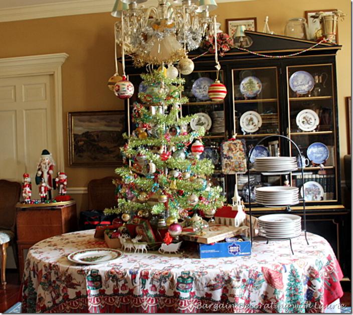 Vintage ornaments on Table Tree