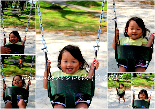 Tiger girl enjoying the swing
