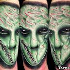 alien tattoo green face monster - tattoo designs