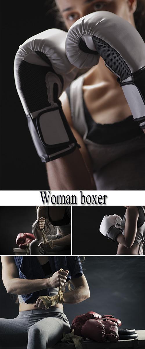 Stock Photo: Woman boxer