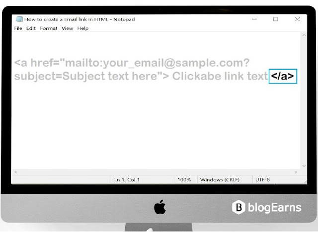 how to create an email link in HTML - step7