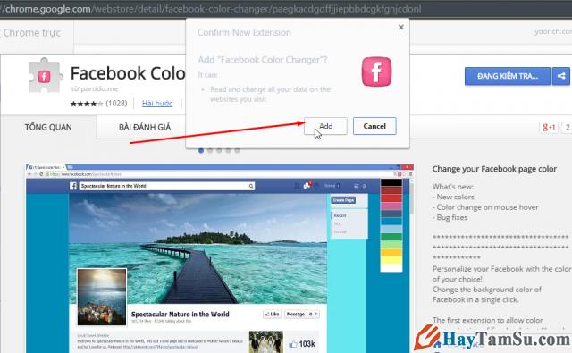 cài đặt Facebook Color Changer, thay đổi giao diện cờ rôm