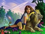 Beauty Girl And Lion