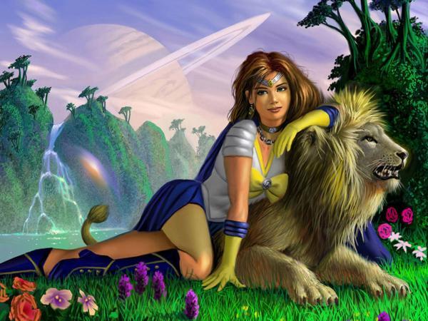 Beauty Girl And Lion, Spirit Companion 1
